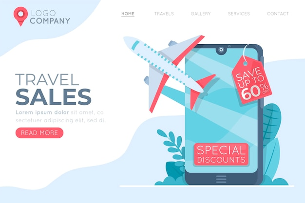 Reiseverkaufswebseite illustriert