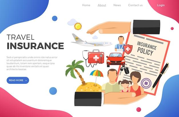 Reiseversicherungskonzept mit flachen symbolen auto-, kranken-, reise- und familienversicherung in der hand. vorlage für die zielseite. isolierte vektorillustration