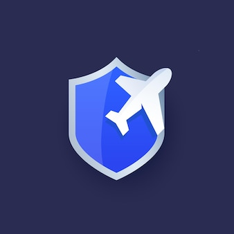 Reiseversicherungsvektorlogo mit schild und flugzeug