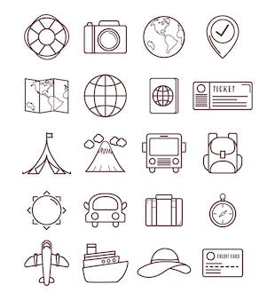 Reisezeit in verbindung stehende ikonen über weißem hintergrund