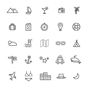 Reiseziel-ikonen-vektor-illustrations-konzept