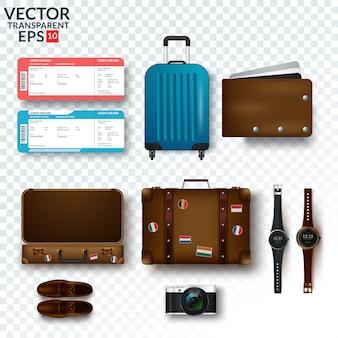 Reisezubehör vorbereitet für die reise lokalisiert