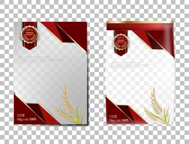 Reispaket thailand lebensmittel, rotgold banner und poster vorlage vektor design reis.