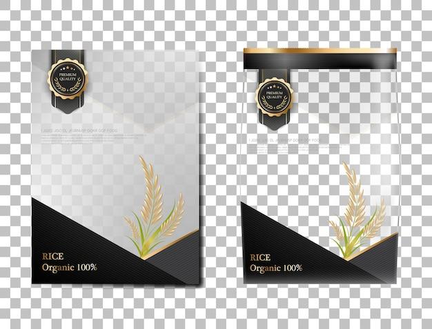Reispaket thailand-lebensmittel, schwarzes goldbanner und plakatschablonenvektordesignreis.