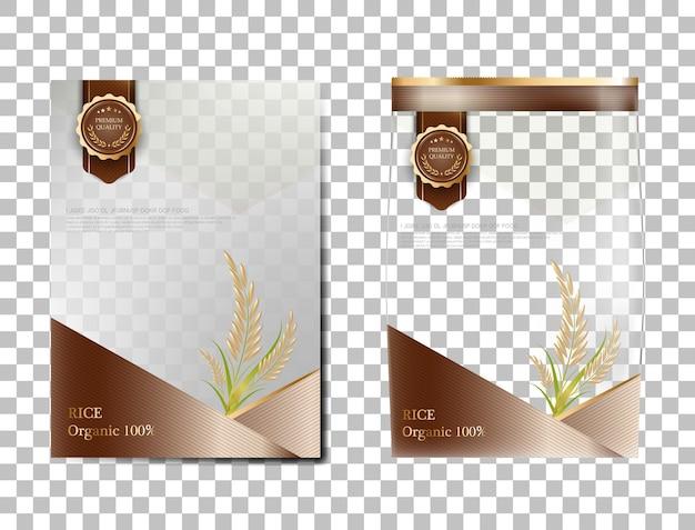 Reispaket thailand-nahrungsmittel, brown-goldfahne und plakatschablonenvektordesignreis.