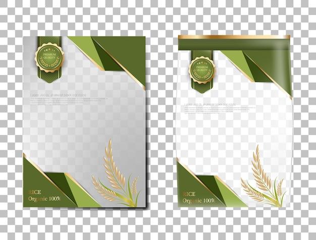Reispaket thailand-nahrungsmittel, grünes goldfahne und plakatschablonenvektordesignreis.