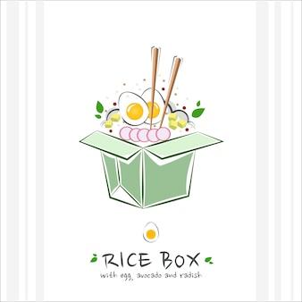 Reisschachtel zum mitnehmen mit ei-avocado und rettich illustration