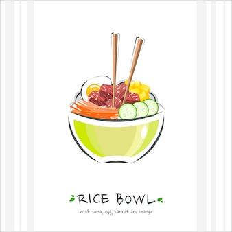 Reisschüssel mit thunfisch, ei, karotte und mango. gesundes essen . illustration mit essstäbchen und sackschale