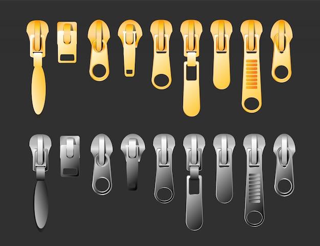 Reißverschluss-satz von gold- und silbermetallic-geschlossenen und offenen reißverschluss- und abzieher-realistischen satz lokalisiert auf schwarzer hintergrundillustration