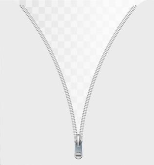Reißverschlusskonzept als offener ineinandergreifender metallverschluss an kleidung oder textil als symbol für das aufdecken einer nachricht oder entdeckung, die auf einem weißen leeren hintergrund isoliert ist.