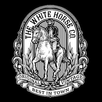 Reiter, der ein pferd für weinleseabzeichen-logoillustration reitet