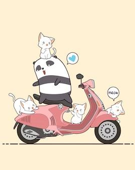 Reiterpanda und nette katzen mit rosa motorrad. Premium Vektoren