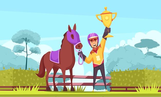 Reitersieger mit goldenem pokal