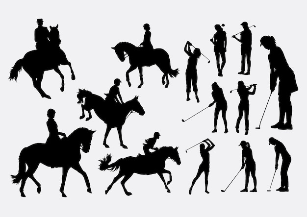 Reitpferd und golf silhouette