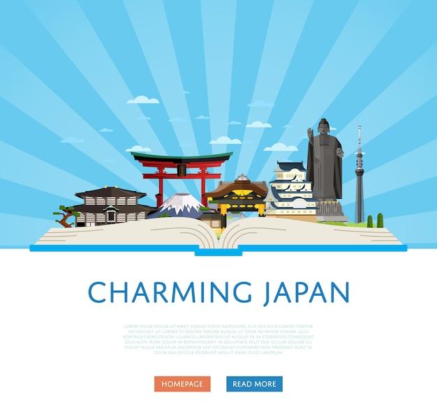 Reizend japan-reiseschablone mit berühmten asiatischen gebäuden