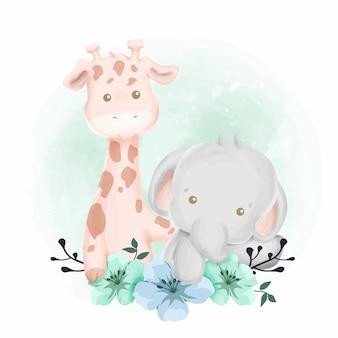 Reizende babygiraffe und -elefant