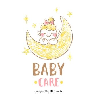 Reizende babyshop-logoschablone mit moderner art