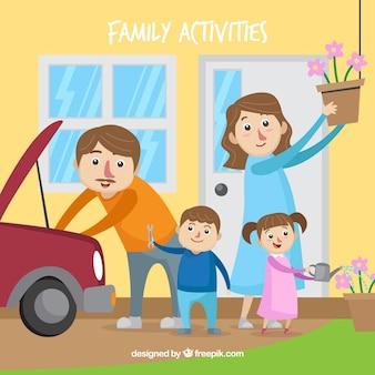 Reizende familie, die verschiedene tätigkeiten zu hause tut