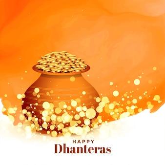 Reizende glückliche dhanteras festivalkarte mit goldmünztopf