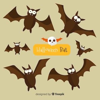 Reizende halloween-schläger mit flachem design