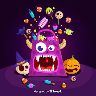Reizende halloween-süßigkeitstasche mit flachem design