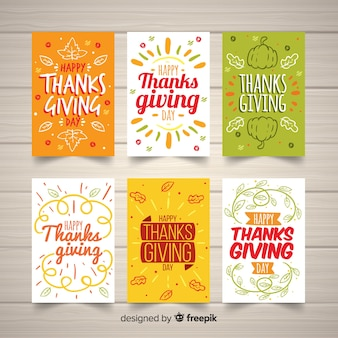 Reizende hand gezeichnete danksagungskartensammlung