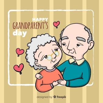 Reizende hand gezeichnete großeltern tageszusammensetzung