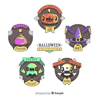 Reizende hand gezeichnete halloween-aufklebersammlung
