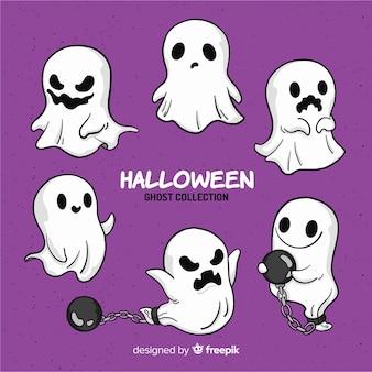 Reizende hand gezeichnete halloween-geistsammlung