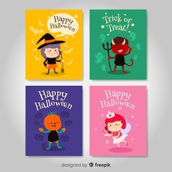 Reizende hand gezeichnete halloween-kartensammlung