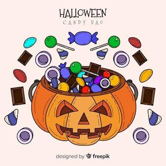 Reizende hand gezeichnete halloween-süßigkeitstasche