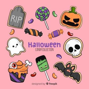 Reizende Hand gezeichnete Halloween-Süßigkeitsammlung