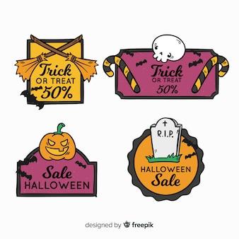 Reizende hand gezeichnete halloween-verkaufsaufklebersammlung