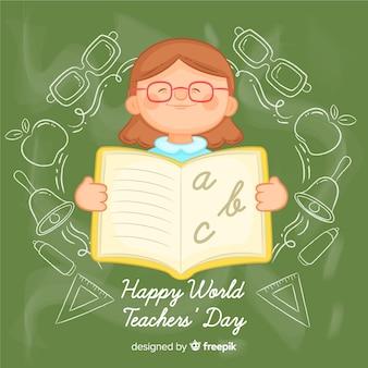 Reizende Hand gezeichnete Tagessatz der Lehrer