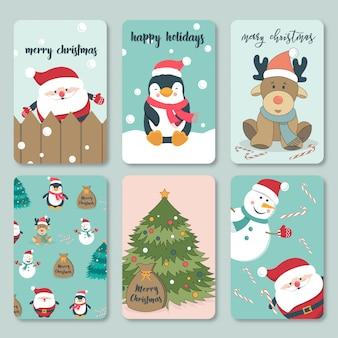 Reizende hand gezeichnete weihnachtskartensammlung
