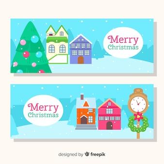 Reizende hand gezeichnete weihnachtsstadtfahnen