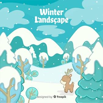 Reizende hand gezeichnete winterlandschaft