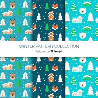 Reizende hand gezeichnete wintermustersammlung