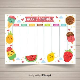 Reizende hand gezeichnete wöchentliche zeitplanschablone