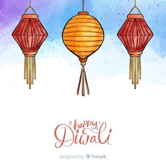 Reizende hand gezeichneter diwali hintergrund