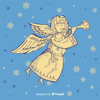 Reizende hand gezeichneter weihnachtsengel