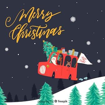 Reizende hand gezeichneter weihnachtshintergrund