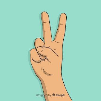 Reizende hand gezeichnetes friedensfingersymbol