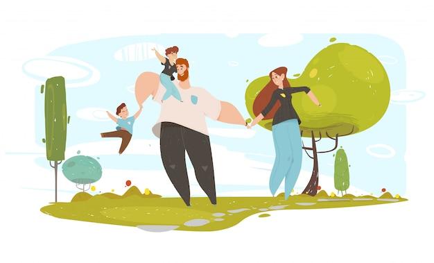 Reizende handwerks-familien-und glück-illustration