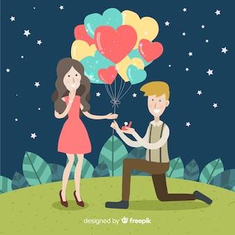 Reizende heiratsantragzusammensetzung mit flachem design