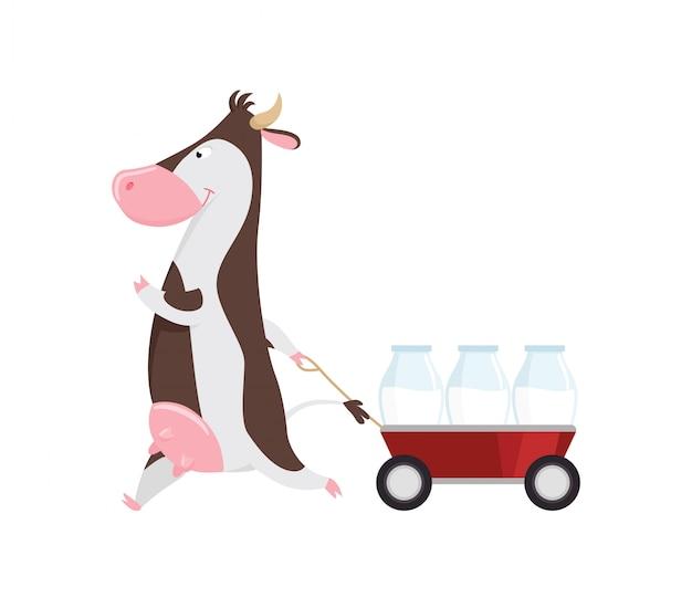 Reizende kuh, die warenkorb mit glasflaschen milch, lustige viehzeichentrickfilm-figur zieht