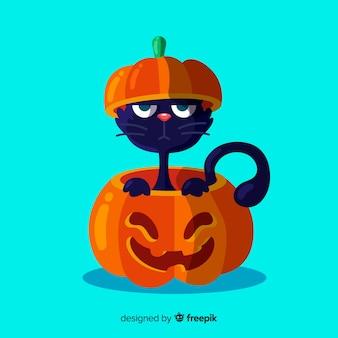 Reizende schwarze katze halloweens mit flachem design