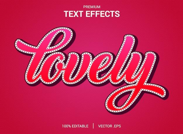 Reizende text-effekt-vektoren, gesetzter eleganter rosa purpurroter abstrakter valentinsgrußtexteffekt
