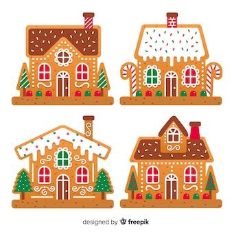 Reizende weihnachtshaus-ingwerplätzchen