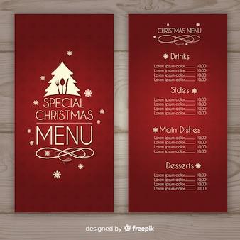 Reizende weihnachtsmenüschablone mit flachem design